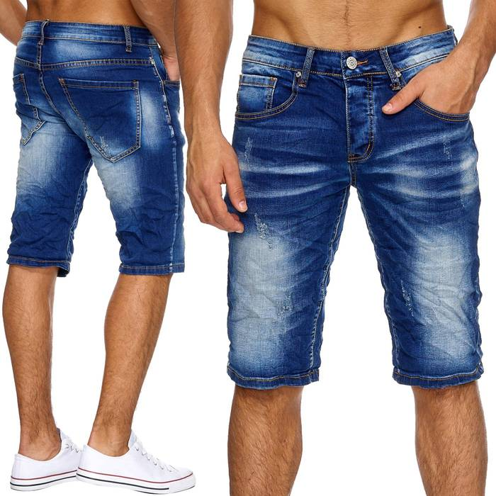 Herren Jeans-Shorts | (Regular Fit) in Crinkle Optik mit Crumble Waschung Bleached, Destroyed, Bermuda mit geradem Bein (Straight Leg) | H1879 in Markenqualität – Bild 1