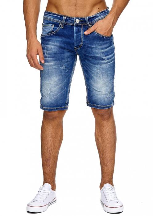 Herren Jeans-Shorts | (Regular Fit) in Crinkle Optik mit Crumble Waschung, Destroyed, Bermuda mit geradem Bein (Straight Leg) | H1880 in Markenqualität – Bild 2
