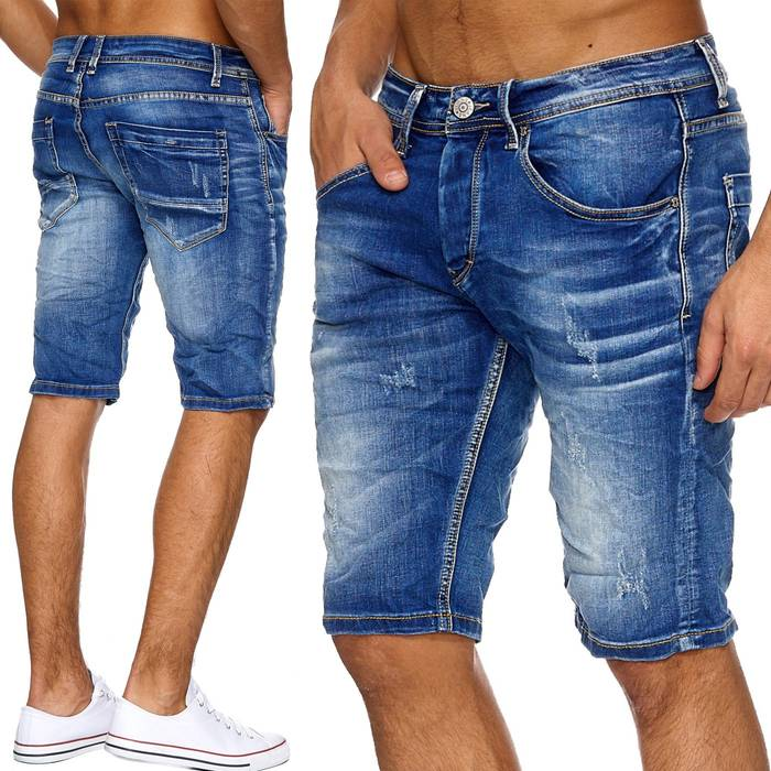 Herren Jeans-Shorts | (Regular Fit) in Crinkle Optik mit Crumble Waschung, Destroyed, Bermuda mit geradem Bein (Straight Leg) | H1880 in Markenqualität – Bild 1