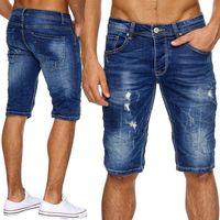 Herren Jeans Shorts Zerrissen Bleached Bermuda H1882
