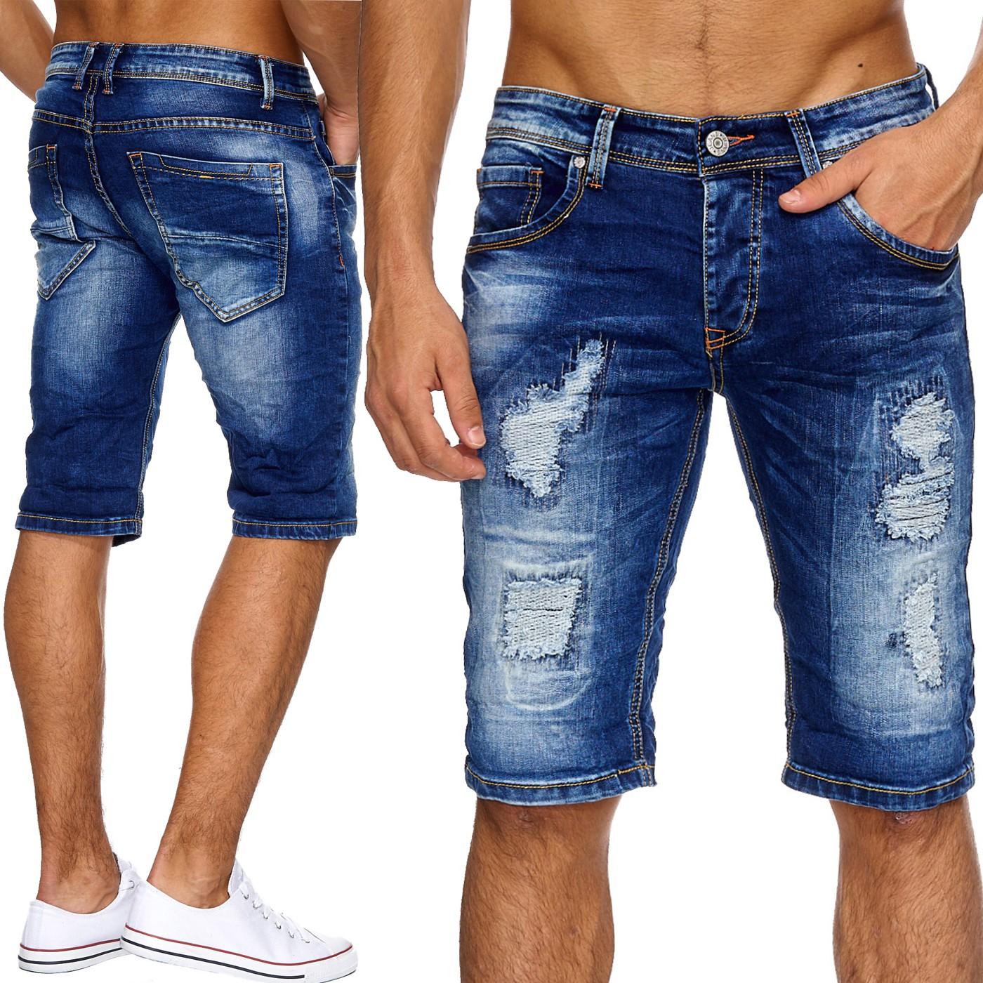Neu herren jeans shorts zerissene hose l cher destroyed for Zerissene jeans herren