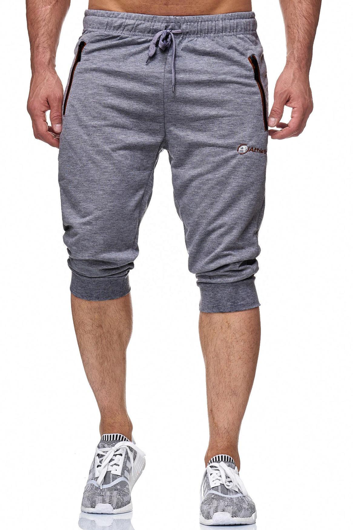 herren sweat shorts jogging 3 4 baumwolle neon zip 7 8 grau sport kurze hose neu ebay. Black Bedroom Furniture Sets. Home Design Ideas