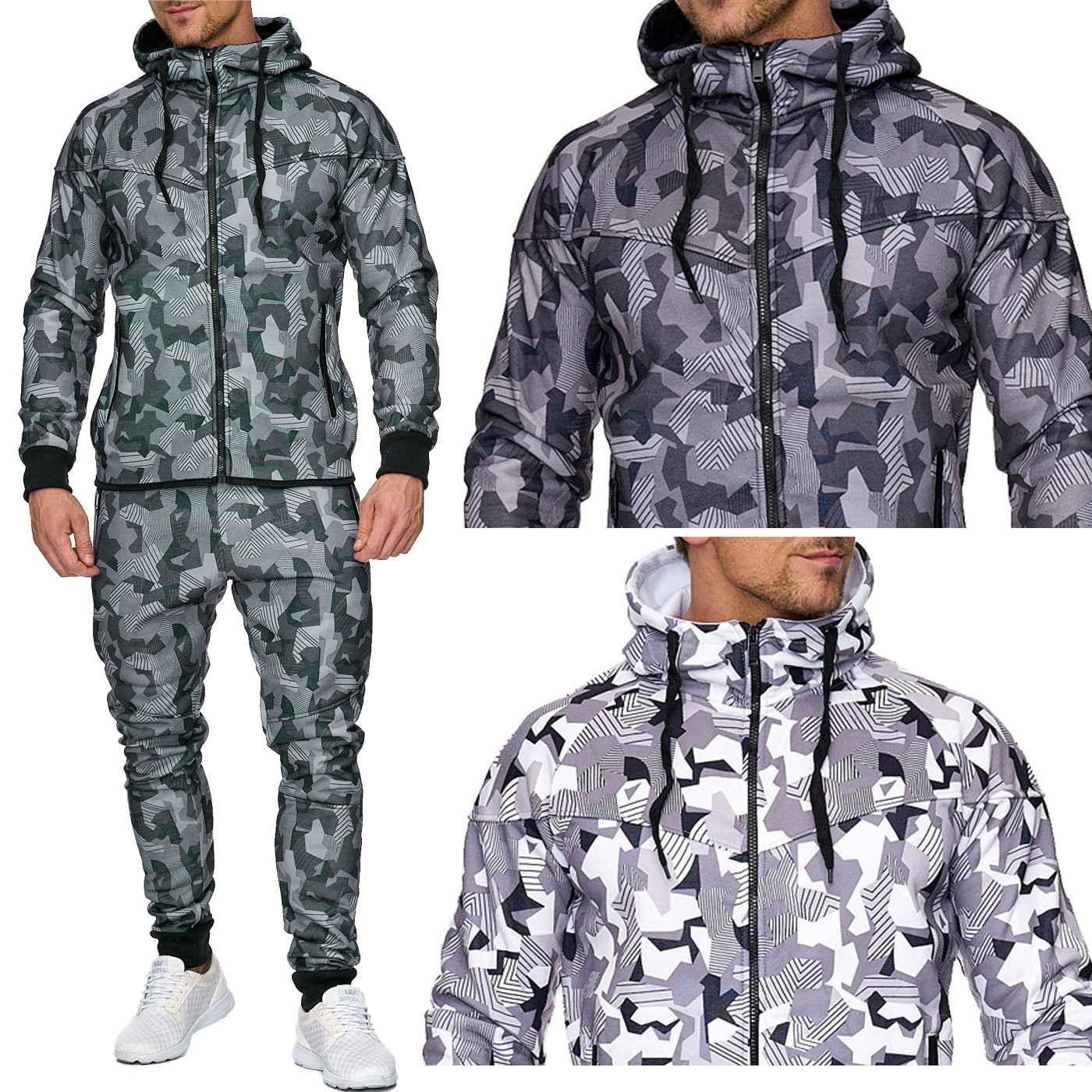 herren jogging anzug training set sweat sport army muster. Black Bedroom Furniture Sets. Home Design Ideas