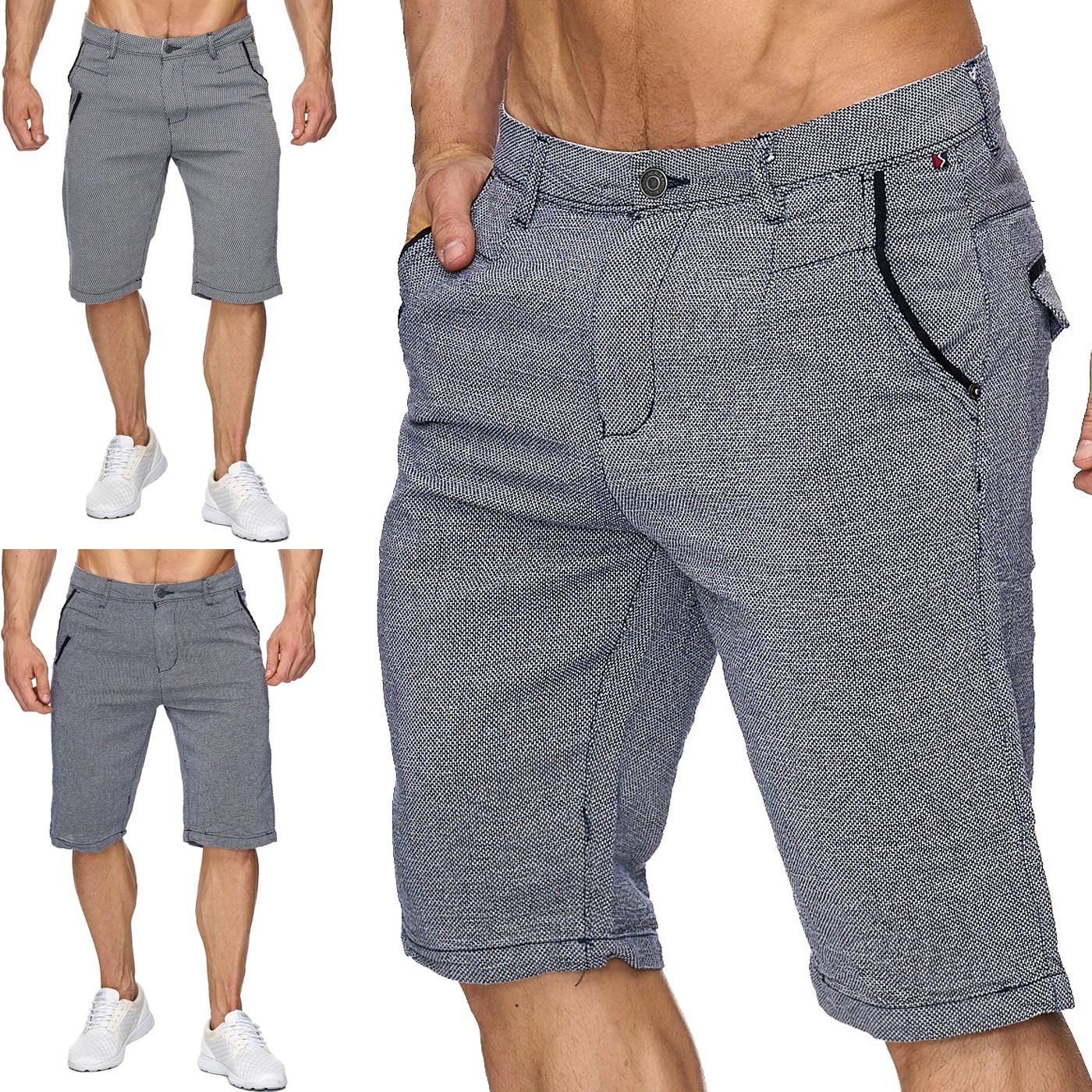 Herren Bermuda Shorts Kurze Chino Hose Capri Walkshort H1443, Farben:Blau, Größe Shorts:W33