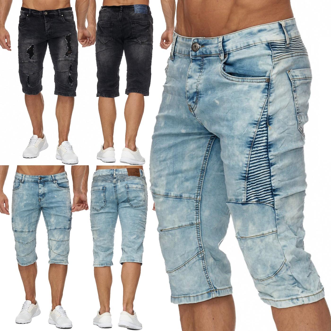 herren jeans shorts hose stonewashed denim biker 2 farben styles bermuda wow ebay. Black Bedroom Furniture Sets. Home Design Ideas