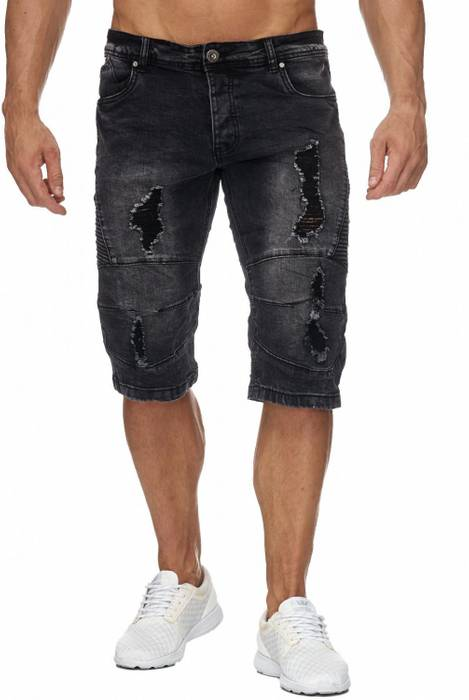 Jaylvis Herren Jeans Shorts Denim Biker Bermuda Destroyed Walkshort H1942 – Bild 2