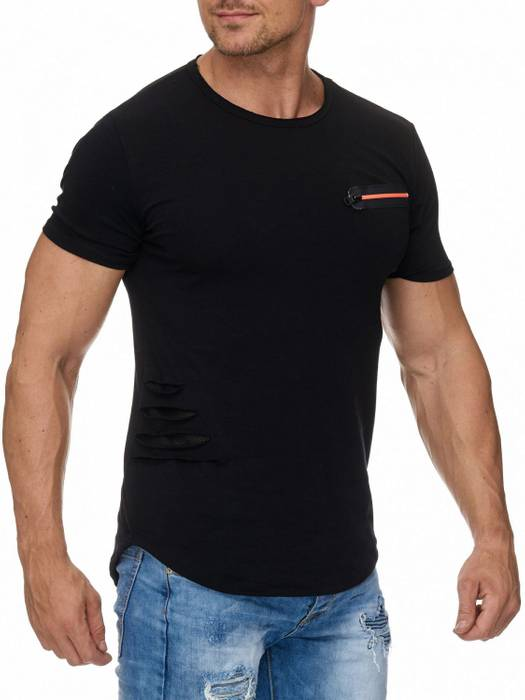 Herren T Shirt Ripped Oberteil Sweatshirt Destroyed H1945 – Bild 4