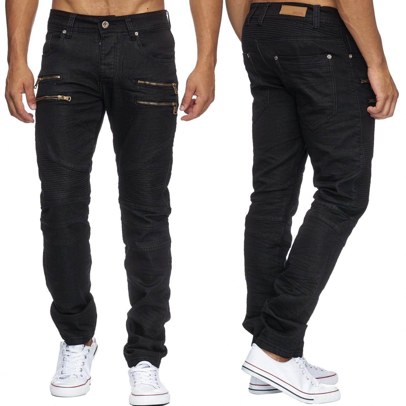 herren jeans hose gl nzend coated denim biker zipper used stoffhose schwarz neu ebay. Black Bedroom Furniture Sets. Home Design Ideas
