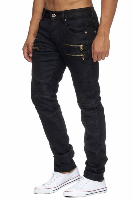 Herren Stoffhose Coated CLARENCE Biker Regular Fit (Stretch) H1952  – Bild 3