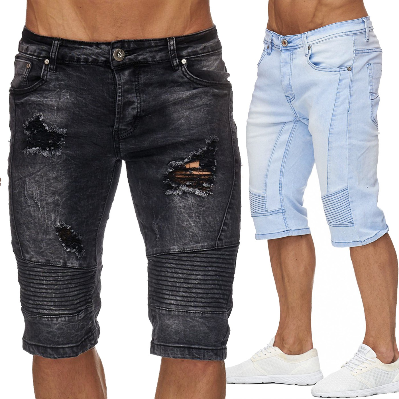 herren ripped jeansshorts destroyed chibs 1954. Black Bedroom Furniture Sets. Home Design Ideas