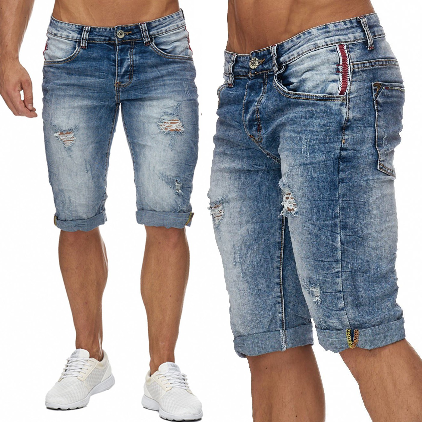herren bermuda ripped jeans shorts destroyed l cher risse crinkle falten neu ebay. Black Bedroom Furniture Sets. Home Design Ideas