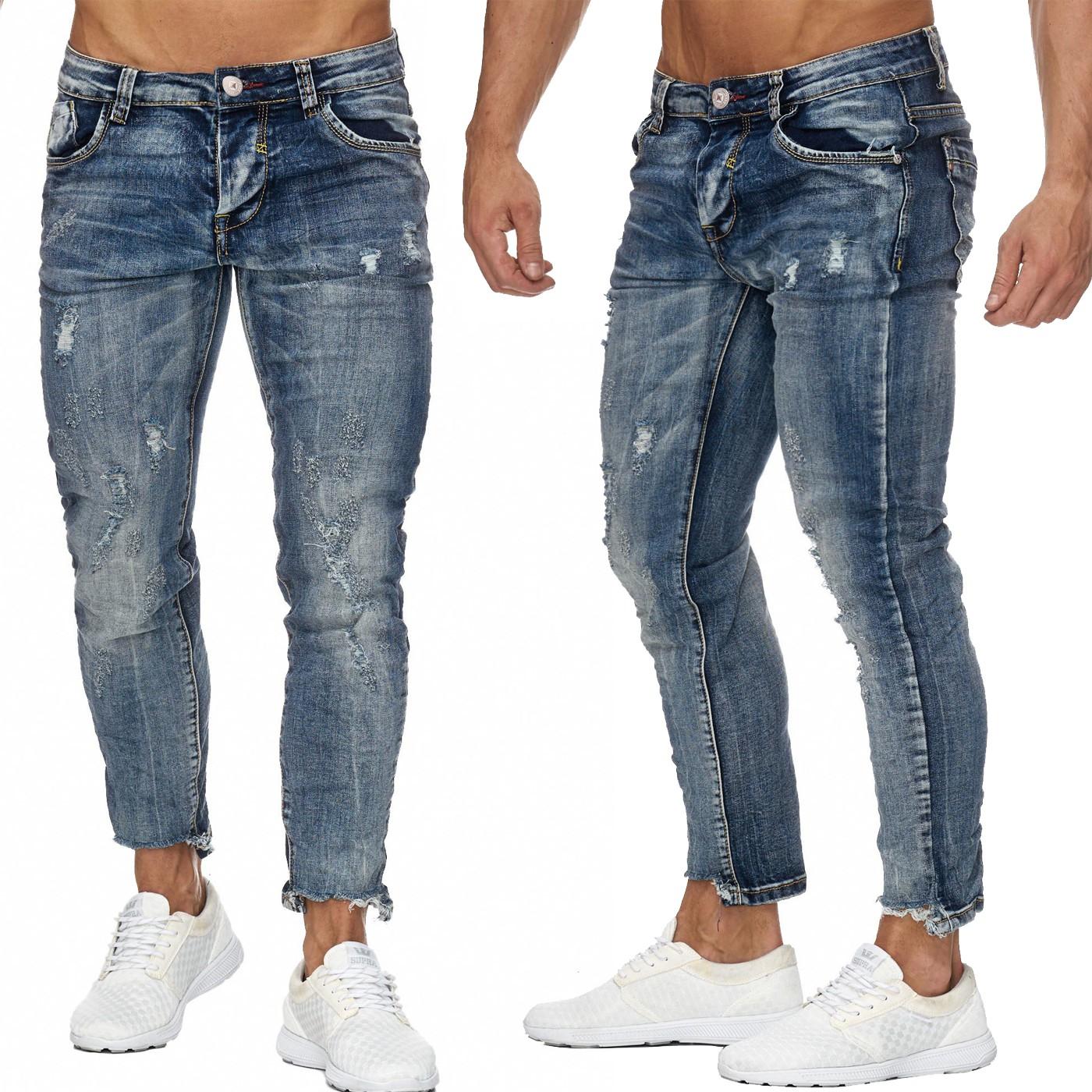 BUROCS BR3724 HERREN Skinny 78 Destroyed Jeans Zerrissen