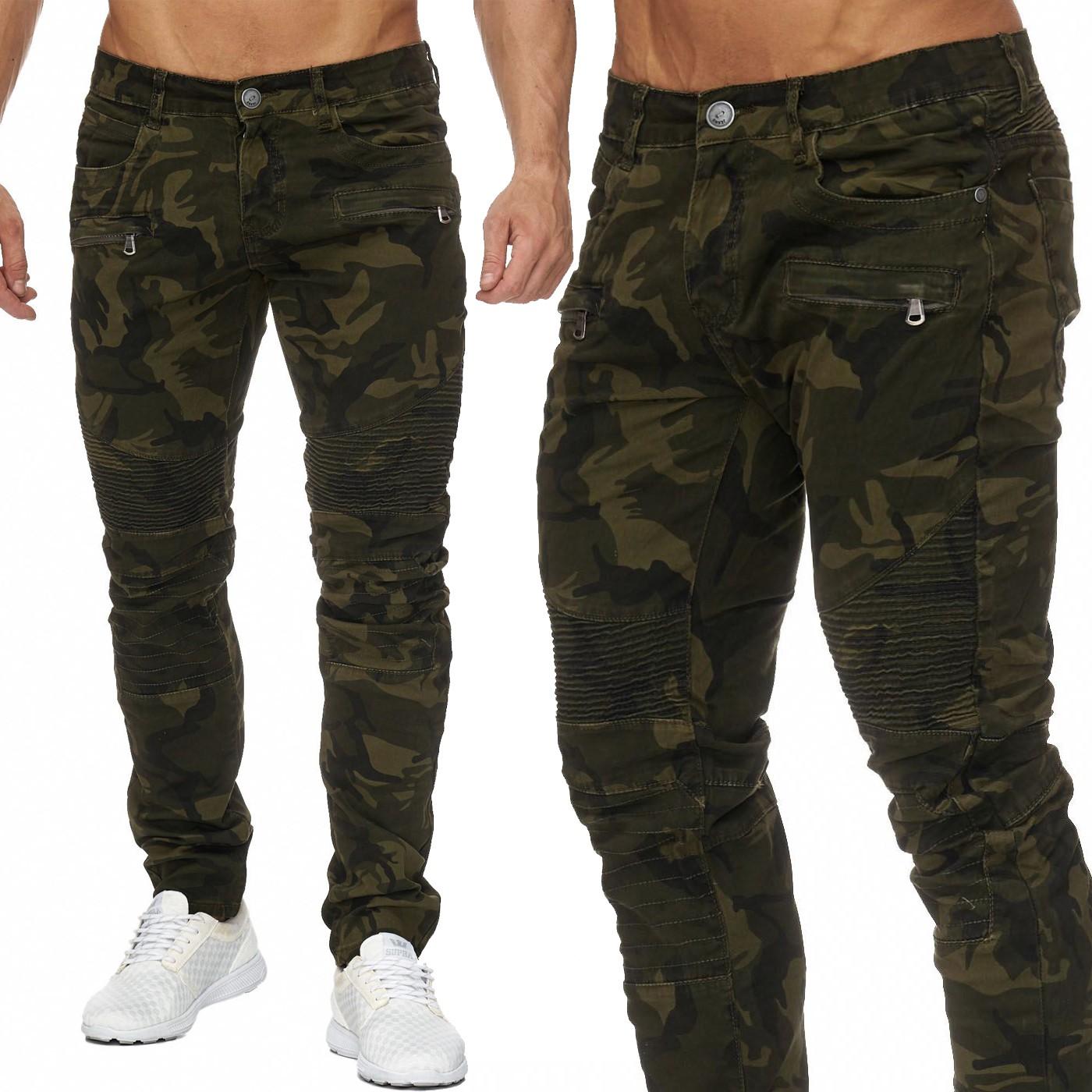 herren hose camouflage biker jeans tarnmuster zipper. Black Bedroom Furniture Sets. Home Design Ideas