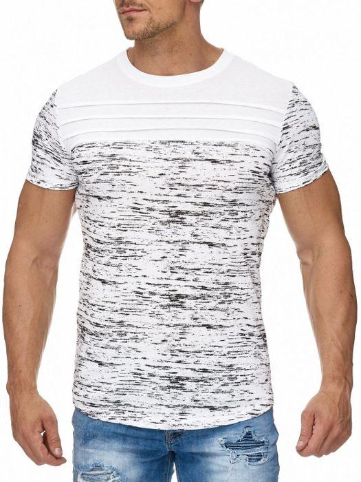 Herren T Shirt Melange Muster Biker Kurzarm Oberteil H1963 – Bild 2