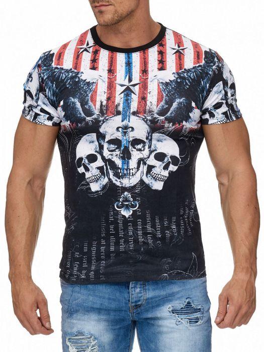 Herren T Shirt USA Flaggen Totenkopf Print H1964 – Bild 2