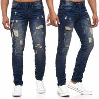 Herren Jeans Ripped Destroyed Denim Hose Löcher H1972