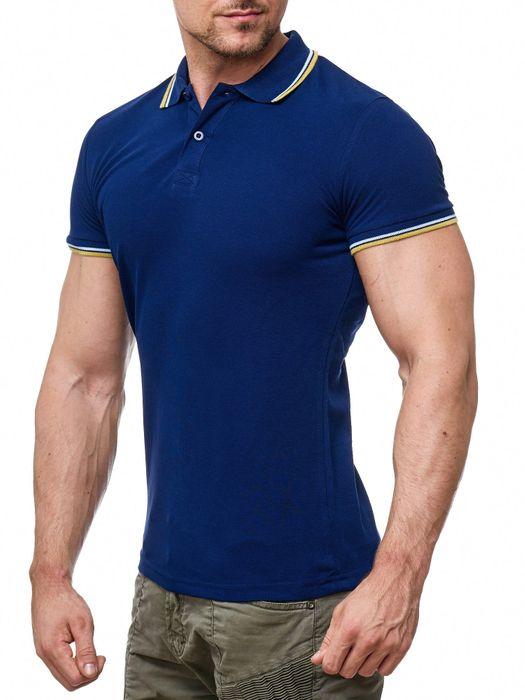 Herren Uni Polo-Shirt Kurzarm Kontrast mit Kragen Basic