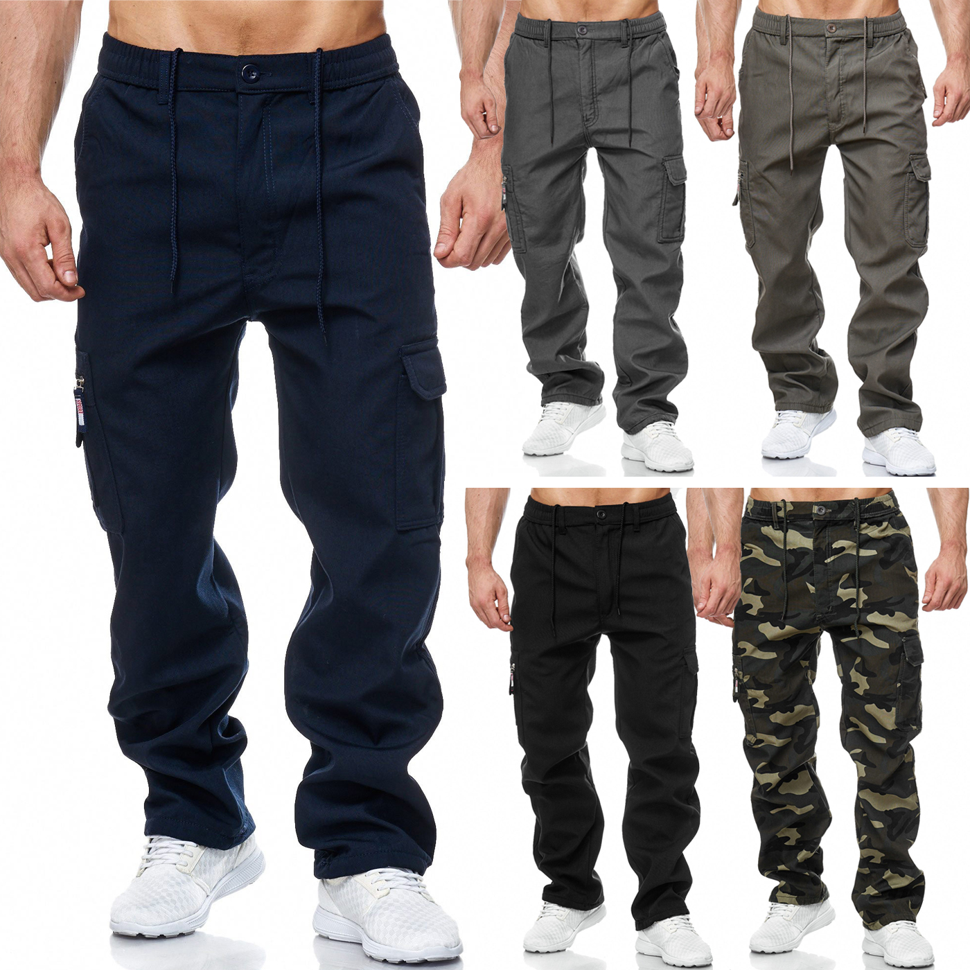 herren cargohose cargo pants gef ttert unifarben. Black Bedroom Furniture Sets. Home Design Ideas