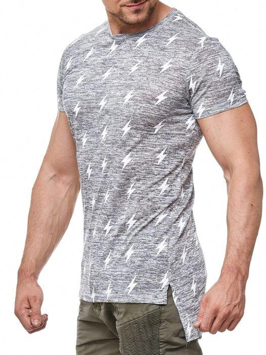 Herren T Shirt Muster Long Tee Kurzarm Shirt Blitze Print H2009 – Bild 6
