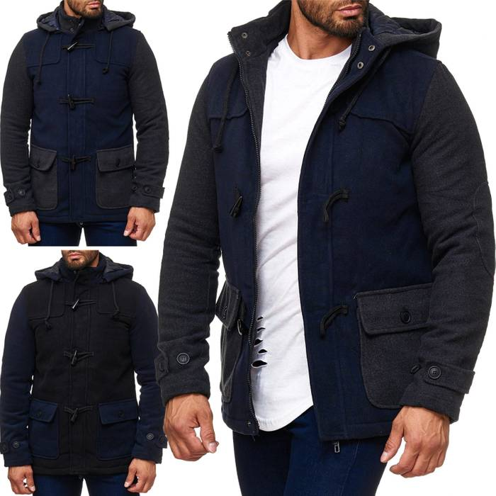 Herren Winterjacke Fleece Mantel Two Tone Parka H2014 – Bild 1