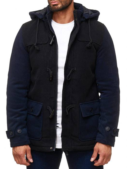 Herren Winterjacke Fleece Mantel Two Tone Parka H2014 – Bild 2