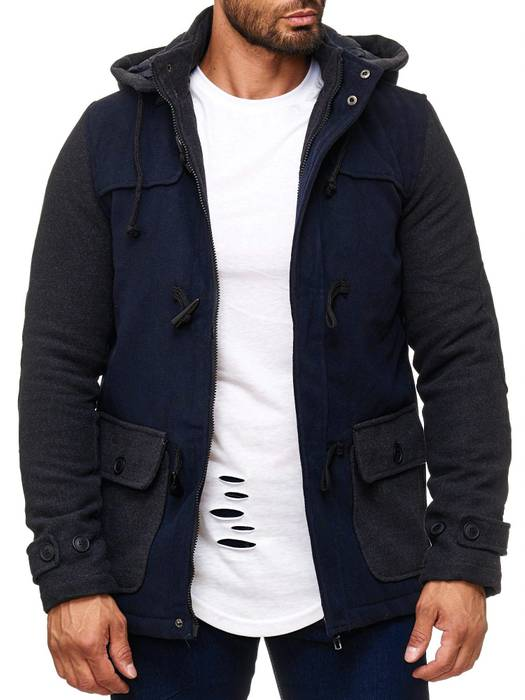 Herren Winterjacke Fleece Mantel Two Tone Parka H2014 – Bild 7