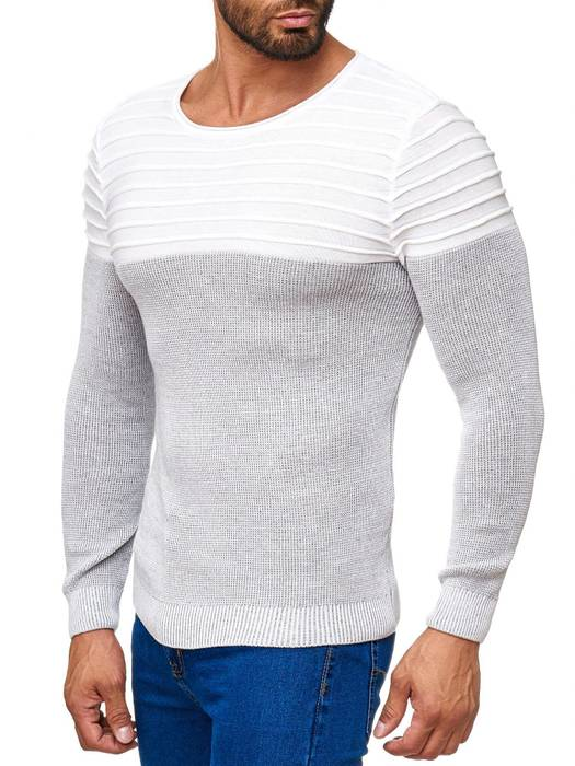 Herren Strick Pullover Two Tone Longsleeve Biker Sweat Shirt H2015 – Bild 3