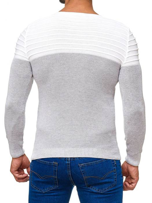 Herren Strick Pullover Two Tone Longsleeve Biker Sweat Shirt H2015 – Bild 4