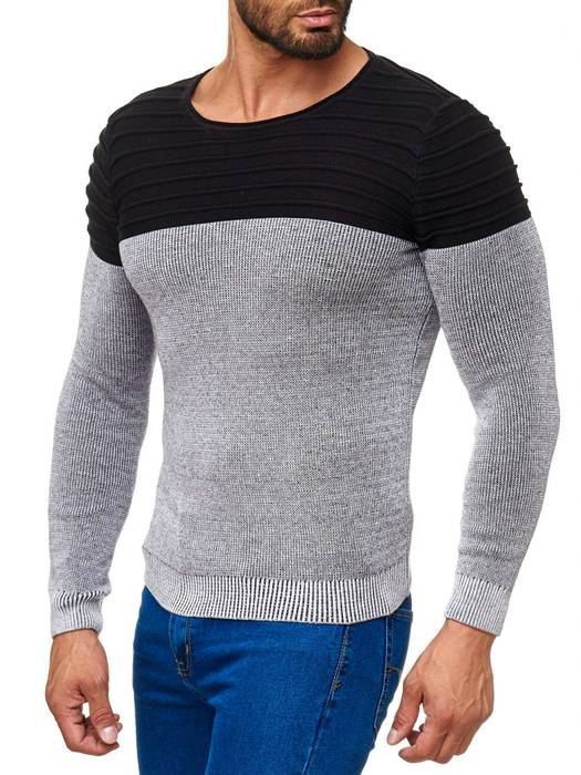 Herren Strick Pullover Two Tone Longsleeve Biker Sweat Shirt H2015 – Bild 9
