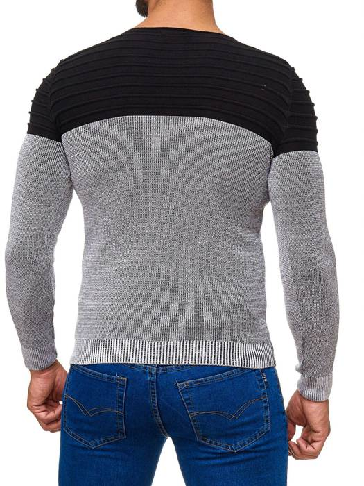 Herren Strick Pullover Two Tone Longsleeve Biker Sweat Shirt H2015 – Bild 10