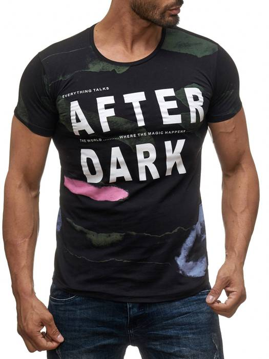 Herren T Shirt AFTER DARK Kurzes Sweatshirt Batik Print Shirt H2018 – Bild 5