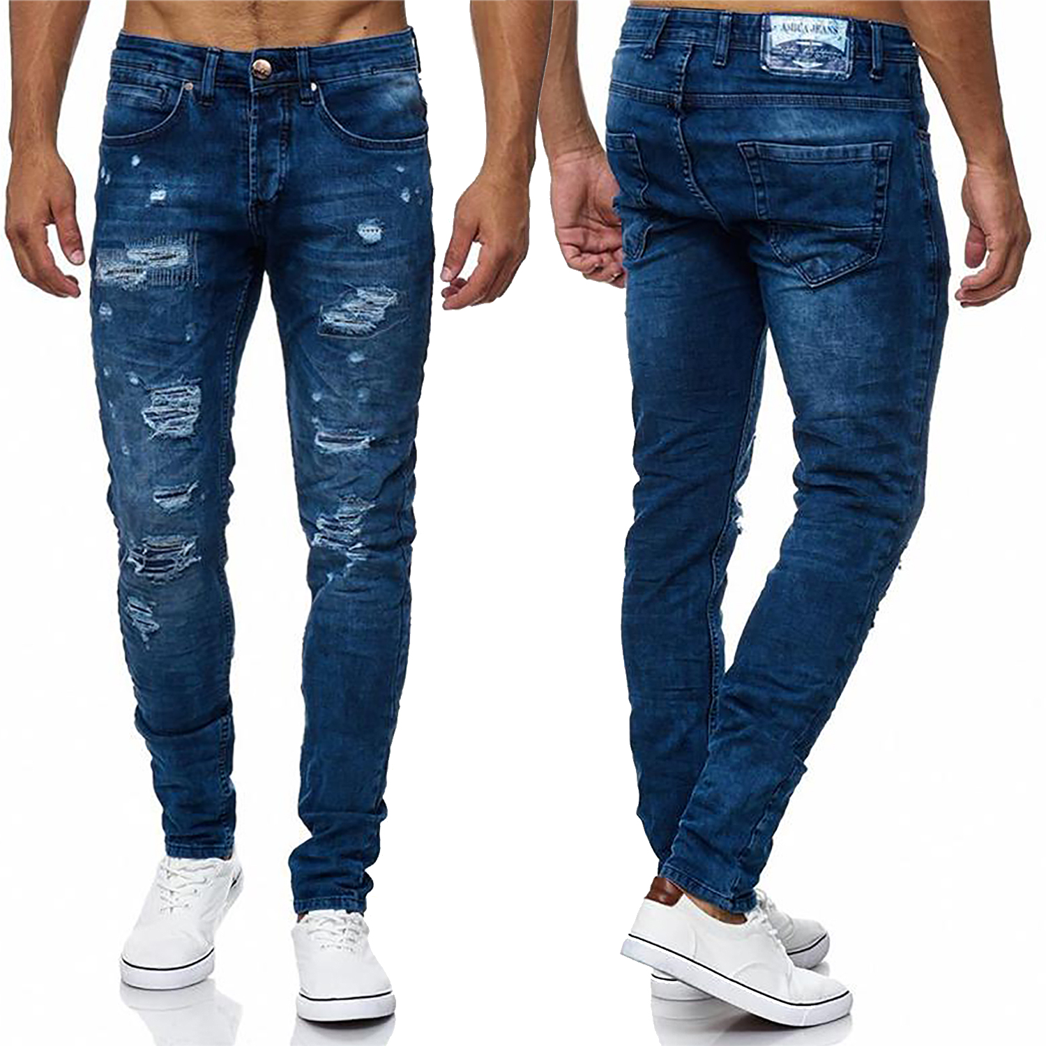 herren jeans zerrissene hose ripped destroyed blue l cher. Black Bedroom Furniture Sets. Home Design Ideas