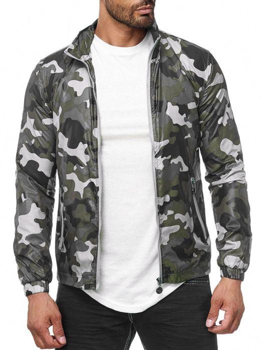 Herren Übergangsjacke Camouflage Windbreaker Leichte Jacke H2037 – Bild 4