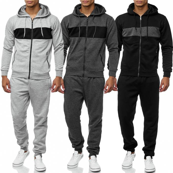 Herren Trainingsanzug Jogginganzug Set Sweat Shirt Pants Sport Streifen H2038 – Bild 1