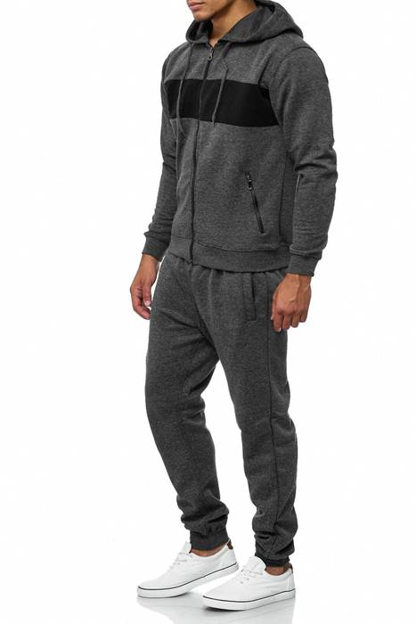 Herren Trainingsanzug Jogginganzug Set Sweat Shirt Pants Sport Streifen H2038 – Bild 3