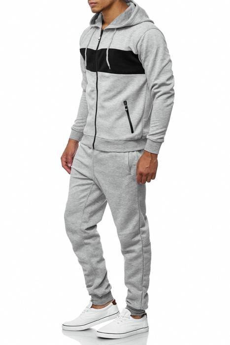 Herren Trainingsanzug Jogginganzug Set Sweat Shirt Pants Sport Streifen H2038 – Bild 6