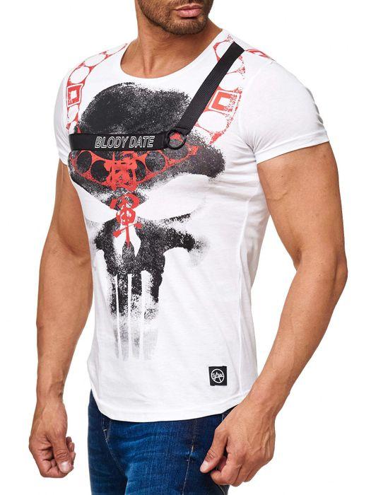 Herren T Shirt Kurzarm BLODY DATE Skull Print Shirt Totenkopf H2040 – Bild 9