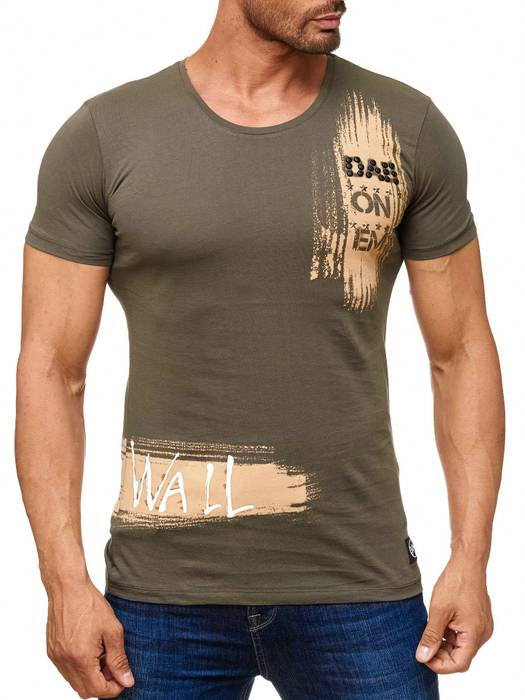Herren T Shirt Kurzarm Sweatshirt Print Motiv O-Neck H2041 – Bild 2