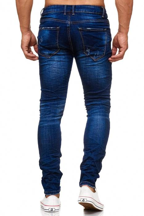 Herren Ripped Jeans Destroyed Skinny Fit Leder Details Löcher Risse Stone Washed Denim Hose H2042 – Bild 4