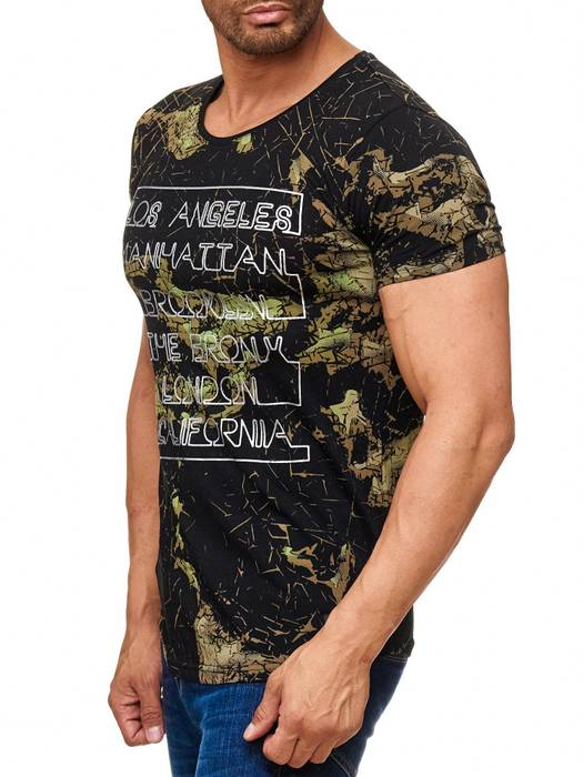 Herren T Shirt LA Manhattan Destroyed Print Kurzarm H2043 – Bild 3
