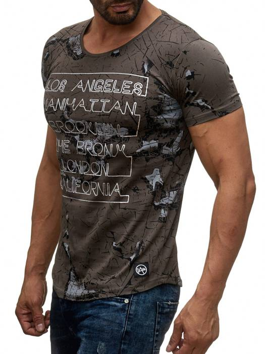 Herren T Shirt LA Manhattan Destroyed Print Kurzarm H2043 – Bild 9