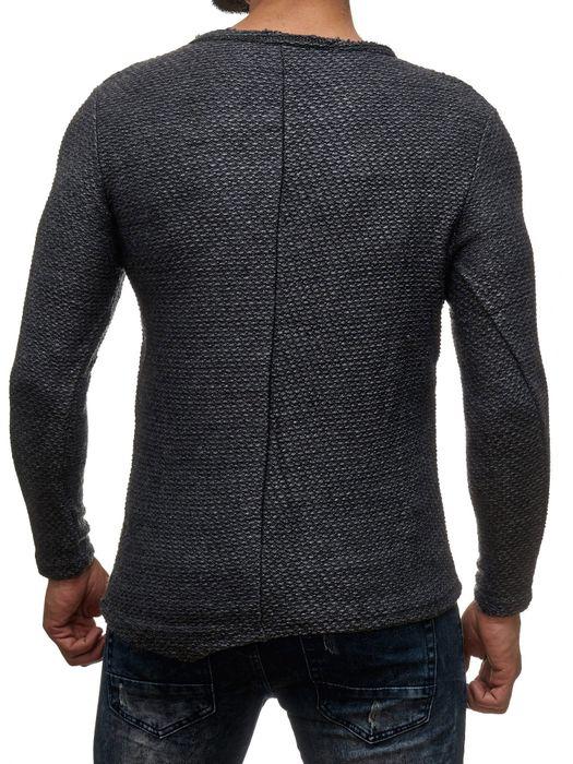 Herren Longsleeve Pullover Asymmetrisch Meliert Long Shirt Schrift Vintage H2045 – Bild 10