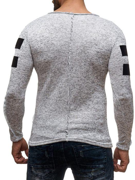 Herren Longsleeve Langarm Shirt Streifen Biker Pullover Asymmetrische Meliert H2046 – Bild 4