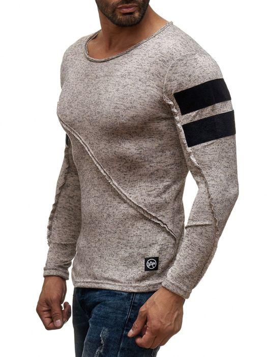Herren Longsleeve Langarm Shirt Streifen Biker Pullover Asymmetrische Meliert H2046 – Bild 9