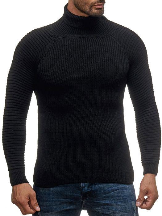Herren Strick Pullover Basic Langarm Shirt Rollkragen Biker Rolli Longsleeve H2048 – Bild 2