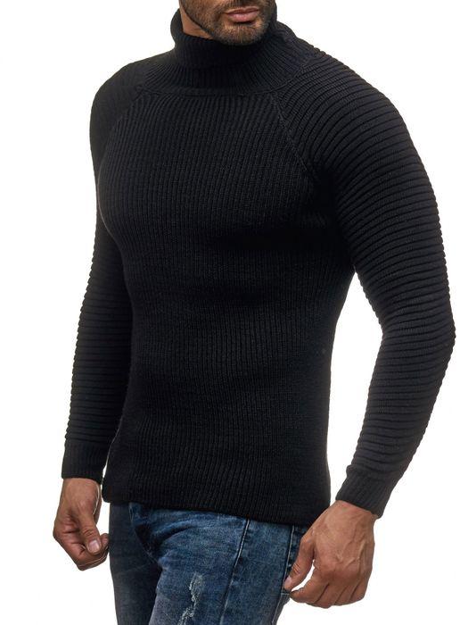 Herren Strick Pullover Basic Langarm Shirt Rollkragen Biker Rolli Longsleeve H2048 – Bild 3