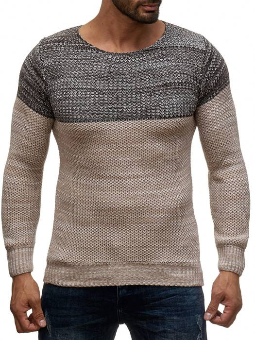 Herren Pullover | Regular Fit | Langarm Strick Pullover | Pulli aus Feinstrick | Herbst Winter | Two Tone Sweat Shirt | H2049 in Markenqualität – Bild 2