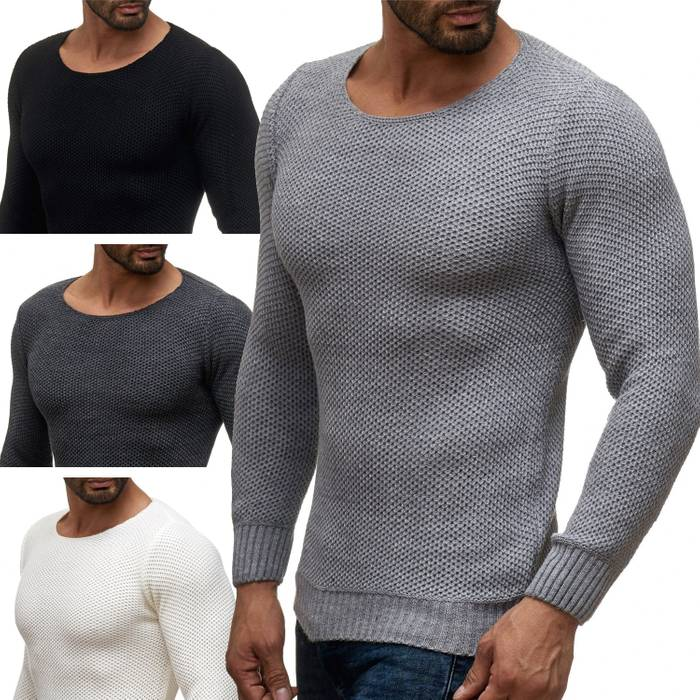 Herren Pullover | Regular Fit | Sweat Shirt in Unifarben | Langarm Strick Pullover | Pulli aus Feinstrick | Herbst Winter | H2050 in Markenqualität – Bild 1