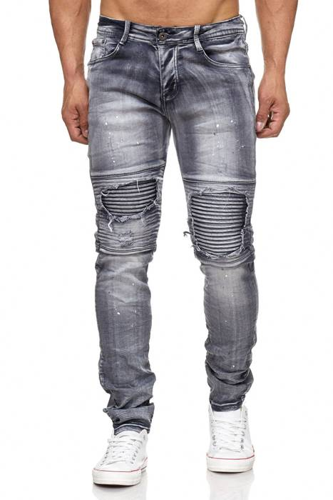Herren Biker Ripped Jeans | Destroyed | Slim Fit | Farbe Löcher Risse | Stone Washed | Denim Hose | Tapered Leg | H2054 von JAYLVIS – Bild 2