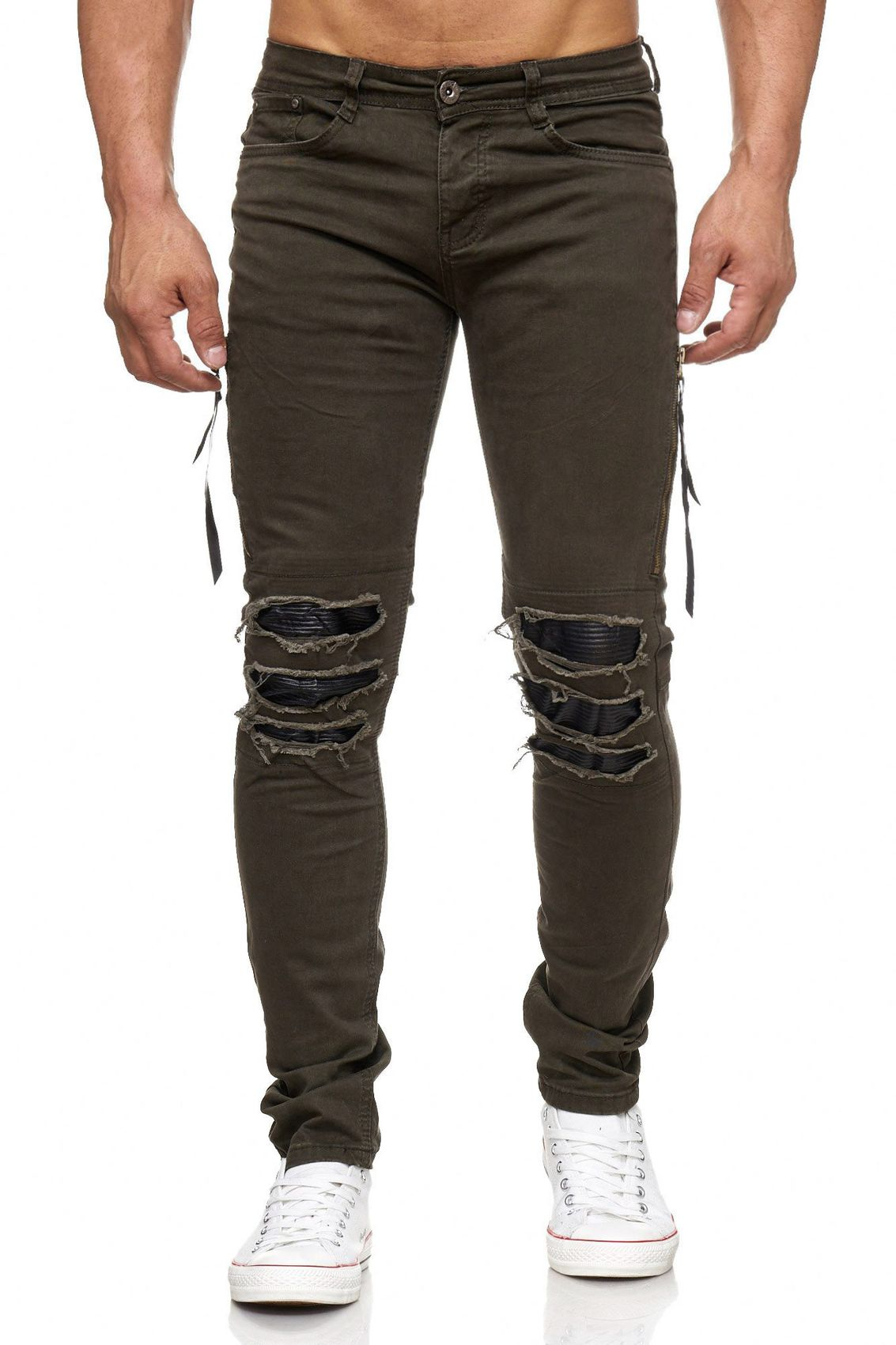 herren jeans hose ripped destroyed l cher risse washed biker zipper knie skinny ebay. Black Bedroom Furniture Sets. Home Design Ideas